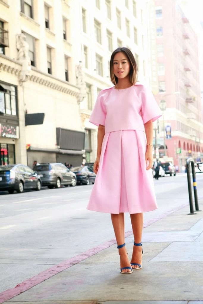3-song-of-style-tibi-simona-jacquard-pink-full-skirt-cropped-top-amber-heel1
